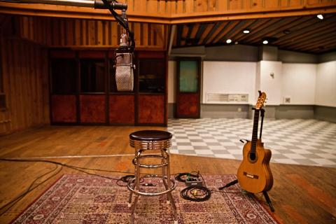 Guitar and mic in the Power Station studio