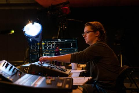 Woman Lighting Controls Musical Theater